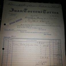 Facturas antiguas: JUAN CORRENT CORRES. CIUDADELA DE MENORCA. 1933. Lote 113022358