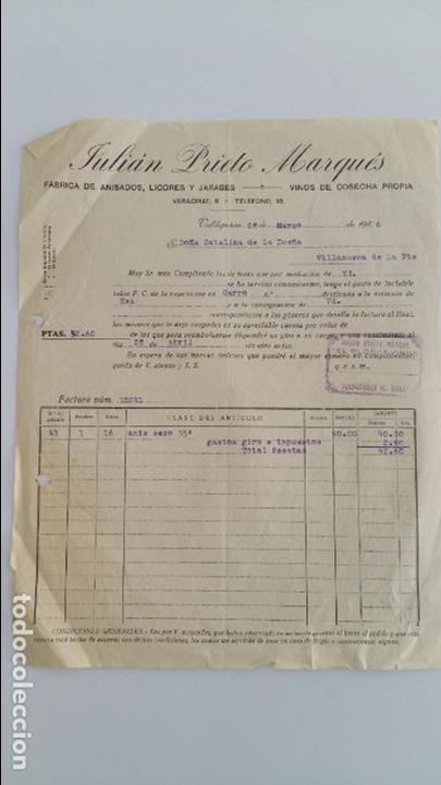 ANTIGUA FACTURA JULIAN PRIETO MARQUES. VALDEPEÑAS 1936. CIUDAD REAL (Coleccionismo - Documentos - Facturas Antiguas)