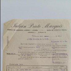 Facturas antiguas: ANTIGUA FACTURA JULIAN PRIETO MARQUES. VALDEPEÑAS 1936. CIUDAD REAL. Lote 113247403