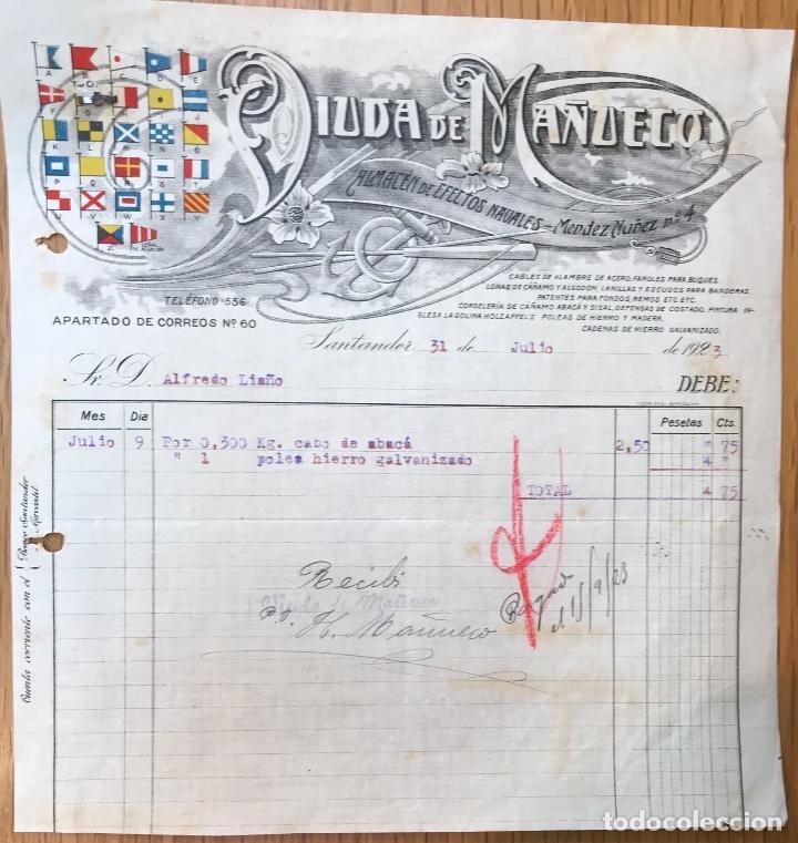 FACTURA DE VIUDA DE MAÑUECO - ALMACÉN DE EFECTOS NAVALES - SANTANDER, 1923 (Coleccionismo - Documentos - Facturas Antiguas)