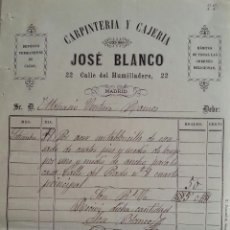 Facturas antiguas: FACTURA DE JOSE BLANCO CARPINTERIA Y CAJERIA 1883. Lote 113317023