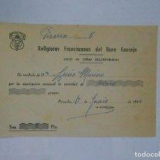 Facturas antiguas: DOCUMENTO DE RECIBO. RELIGIOSAS FRANCISCANAS DEL BUEN CONSEJO. 1964.. NIÑAS DESAMPARADAS. TDKP1. Lote 113996727