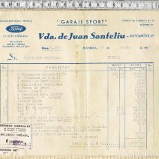 Facturas antiguas: FACTURA CON VIÑETA RECARGO GREMIAL GARAJE SPORT VDA. DE JUAN SANFELIU - MANRESA - 1957.. Lote 114286751