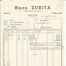 Facturas antiguas: FACTURA ARTICULOS DE PIEL HNOS ZURITA UBRIQUE 1968. Lote 115609363
