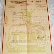 Facturas antiguas: ANTIGUA FACTURA DE 1932 - ESTABLECIMIENTOS TRIAS - RAMÓN TRIAS CUNILL. Lote 116524207