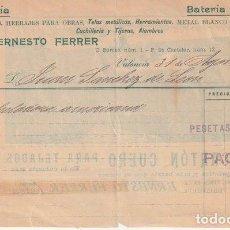 Facturas antiguas: FACTURA ERNESTO FERRER CALLE BARCAS P. CASTELAR 1905 DETRAS TEJADOS CARTON CUERO VALENCIA -R-5. Lote 116916003