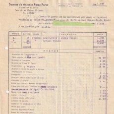 Facturas antiguas: FACTURA SUCESOR ANTONIO PEREZ PEREZ CONSIGNATARIO ALICANTE REEXPEDIDAS A ALCOY 1936 - -R-5. Lote 116917623