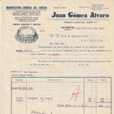 Facturas antiguas: FACTURA JUAN GOMEZ ALVARO MANUFACTURA DEL CORCHO VALENCIA 1937 - -R-5. Lote 116917755