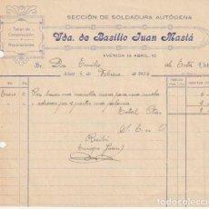 Facturas antiguas: FACTURA VDA. DE BASILIO JUAN MASIA SECCION SOLDADURA AUTOGENA ALCOY 1936 - -R-5. Lote 116917863