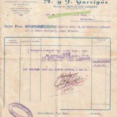 Facturas antiguas: FACTURA A. Y J. GARRIGOS COSECHEROS Y EXPORTADORES DE VINOS MISTELAS VALENCIA 1938 - -R-5. Lote 116918019