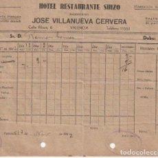 Facturas antiguas: FACTURA HOTEL RESTAURANTE SUIZO DE JOSE VILLANUEVA CERVERA - CALLE RIBERA,6 VALENCIA 1942 - -R-5. Lote 116939867