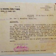 Facturas antiguas: ALCOY SINDICATO TEXTIL CNT EN GUERRA CIVIL ESPAÑOLA 1937 - LOTE TRES FACTURAS TAL FOTOS. Lote 117327499