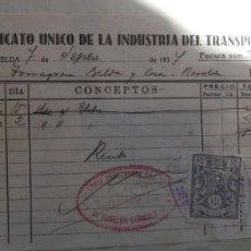 Facturas antiguas: NOVELDA SINDICATO UNIDO DEL TRANSPORTE CNT - RECIBO FECHADO EN 1937 - FISCAL PEGADO. Lote 117402399