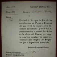 Facturas antiguas: FACTURA DE 1811 CATALÁN ANTIGUO, EXCELENTE ESTADO CONTRIBUCIONES PUERTAS Y VENTANAS GIRONA CATALÀ. Lote 117478907