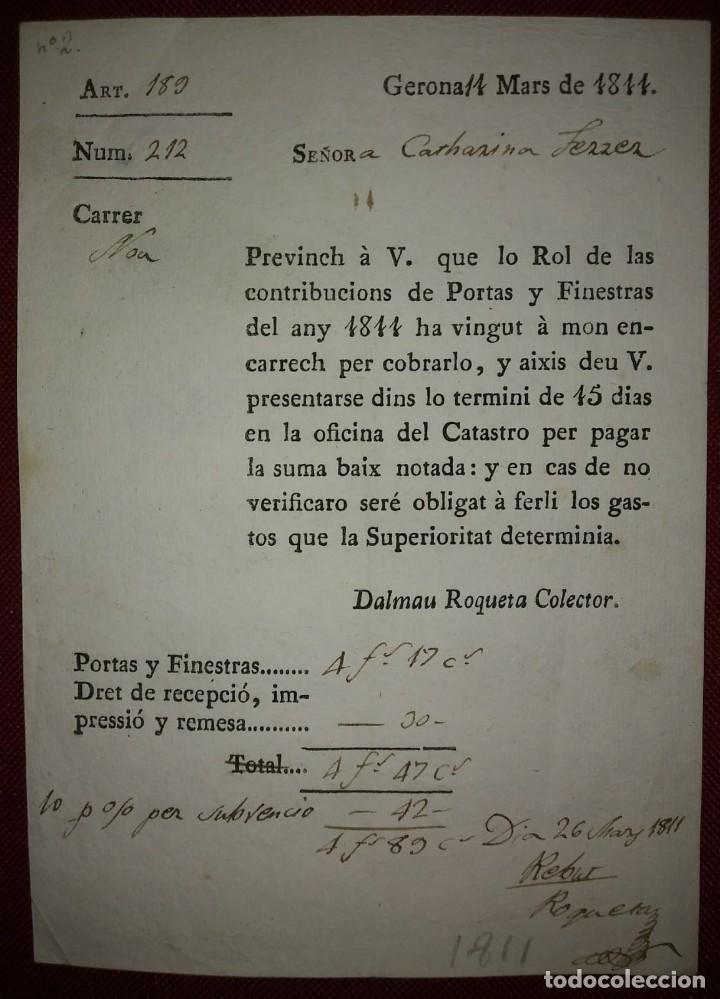 Facturas antiguas: Factura de 1811 Catalán antiguo, excelente estado Contribuciones puertas y ventanas Girona català - Foto 2 - 117478907