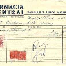 Facturas antiguas: ALCOY (ALICANTE) - SANTIAGO TEROL MONLLOR - FARMACIA CENTRAL - AÑO 1956. Lote 118353759