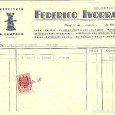 Facturas antiguas: ALCOY (ALICANTE) - FEDERICO IVORRA - LOZA, CRISTAL, VAJILLAS PORELONA Y WATERS - AÑO 1947 . Lote 118432803