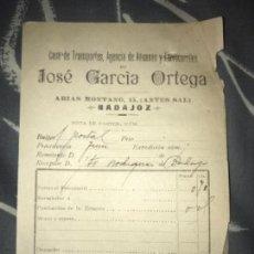 Facturas antiguas: ANTIGUA FACTURA JOSÉ GARCÍA ORTEGA CASA TRANSPORTES ADUANAS Y FERROCARRILES BADAJOZ 1913. Lote 120255667