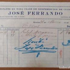 Facturas antiguas: FACTURA JOSE FERRANDO DESPERDICIOS CUERO CALLE TER CLOT BARCELONA 1933. Lote 120294847
