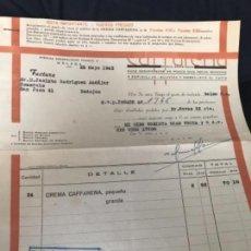 Facturas antiguas: ANTIGUA FACTURA CREMA CAFFARENA MALAGA 1943. Lote 120314867