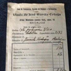 Facturas antiguas: ANTIGUA FACTURA CASA TRANSPORTES ADUANAS FERROCARRILES VIUDA JOSÉ GARCÍA ORTEGA BADAJOZ 1940 MINERVA. Lote 120384071