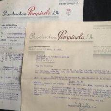 Facturas antiguas: ANTIGUA CARTA COMERCIAL Y FACTURA PRODCUTOS PIMPINELA PERFUMERÍA BARCELONA 1943. Lote 120385623