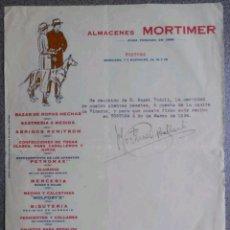 Facturas antiguas: FACTURA ALMACENES MORTIMER 1934. Lote 121868542