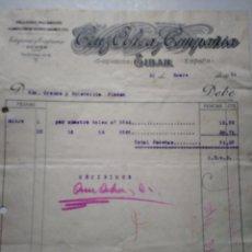 Facturas antiguas: CRUZ OCHO Y COMPAÑIA. TALLERES MECANICOS. FUNDICION. EIBAR 1931. ANTIGUA FACTURA.. Lote 122444108