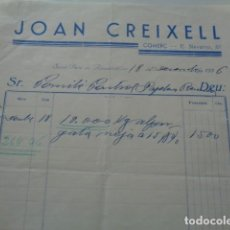 Facturas antiguas: SANT PERE DE RIUDEVITLLES. BARCELONA. DICIEMBRE 1936. GUERRA CIVIL. JOAN CREIXELL, COMERÇ. Lote 122860855