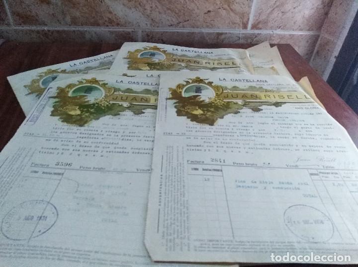AZUAGA BADAJOZ 9 FACTURAS ANIS JUAN RISELL AÑOS 20 -30 (Coleccionismo - Documentos - Facturas Antiguas)