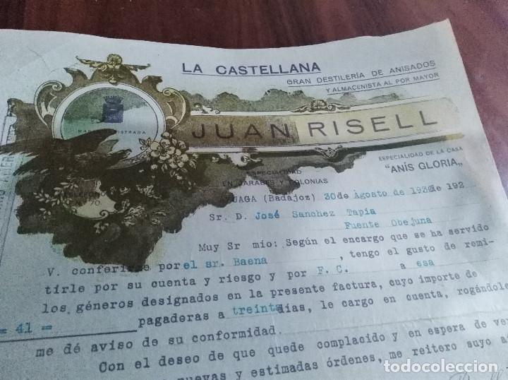 Facturas antiguas: Azuaga Badajoz 9 facturas anis juan risell años 20 -30 - Foto 2 - 123371487