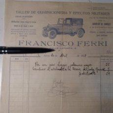 Facturas antiguas: ALCOY TALLER DE GUARNICIONERIA Y EFECTOS MILITARES 1928. Lote 111819624