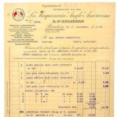 Facturas antiguas: FACTURA LA MAQUINARIA ANGLO AMERICANA R. D`AULIGNAC. BARCELONA 1935 HERRAMIENTAS HIERROS ACEROS. Lote 123672991