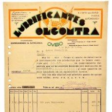 Facturas antiguas: FACTURA LUBRIFICANTES OLGOMTRA CONCESIONARIO GUMERSINDO G. LONGORIA. OVIEDO ASTURIAS 1934. Lote 123681479