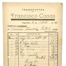 Facturas antiguas: FACTURA DE TRANSPORTES FRANCISCO CASAS. VEGUELLINA LEÓN AÑOS 30. Lote 123767483