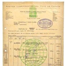Facturas antiguas: FACTURA ACEITES LUBRIFICANTES DE ESTE DE ESPAÑA. AUTOMÓVILES. BARCELONA 1942. Lote 123777283