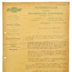 Facturas antiguas: FACTURA CARTA COMERCIAL AUTOMÓVILES CASA RODRÍGUEZ PENAGOS. OVIEDO ASTURIAS 1928 CHEVROLET. Lote 123779447