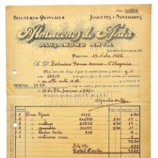 Facturas antiguas: FACTURA ALMACENES DE ANTA ALEJANDRO ANTA JUGUETES, BISUTERÍA. ORENSE 1928. Lote 123782751