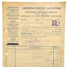 Facturas antiguas: FACTURA LABORATORIOS LACATÁN J. ALVA BRENES. FARMACIA. SEVILLA 1939. Lote 123795267