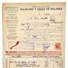 Facturas antiguas: FACTURA BALNEARIO Y AGUAS DE SOLARES. AGUA MEDICINAL. CANTABRIA 1943. Lote 123797055