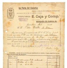 Facturas antiguas: FACTURA AGUAS Y SALES NATURALES LA PERLA DEL CASTELLAR. E. CAJA Y CIA. MADRID 1908. Lote 123799007