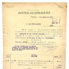 Facturas antiguas: FACTURA AGUA DE INSALUS. AGUAS MINERALES MEDICINALES. TOLOSA GUIPÚZCOA 1939. Lote 123807775