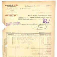 Facturas antiguas: FACTURA AGUAS MINERALES MEDICINALES DE LA TOJA. LA CORUÑA 1939. Lote 123821503