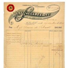 Facturas antiguas: FACTURA FÁBRICA DE PAÑOS JOSÉ PALLARÉS DEU. SABADELL BARCELONA 1915. Lote 124290275