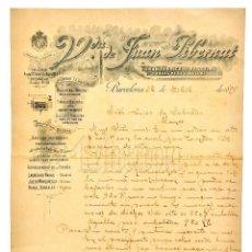 Facturas antiguas: FACTURA FÁBRICA DE BÁSCULAS Y ARCAS PARA CAUDALES VIUDA DE JUAN PIBERNAT. BARCELONA 1898. Lote 124295631
