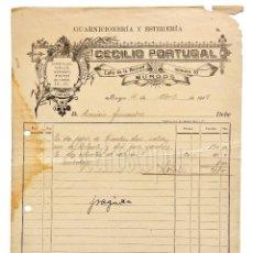 Facturas antiguas: FACTURA GUARNICIONERÍA Y ESTERERÍA CECILIO PORTUGAL. BURGOS 1918. Lote 124297591