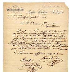 Facturas antiguas: FACTURA MOLINO DE ACEITE LINAZA PEDRO CALVO BLANCO. VALDESANDINAS DEL PÁRAMO LEÓN 1918. Lote 124300483