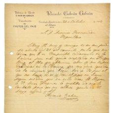 Facturas antiguas: FACTURA FÁBRICA DE ACEITE Y PAN DE LINAZA RICARDO GALVÁN. VALCABADO ZAMBROCINOS DEL PÁRAMO LEÓN 1924. Lote 124302923