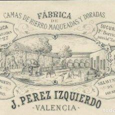 Facturas antiguas: VALENCIA 1881 FACTURA DE FÁBRICA DE CAMAS DE HIERRO MAQUEADAS Y DORADAS PÉREZ IZQUIERDO. Lote 124638131