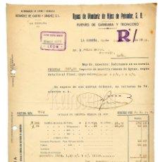 Facturas antiguas: FACTURA CARTA COMERCIAL BALNEARIO DE MONDARIZ HIJOS DE PEINADOR. LA CORUÑA 1939. Lote 124653851